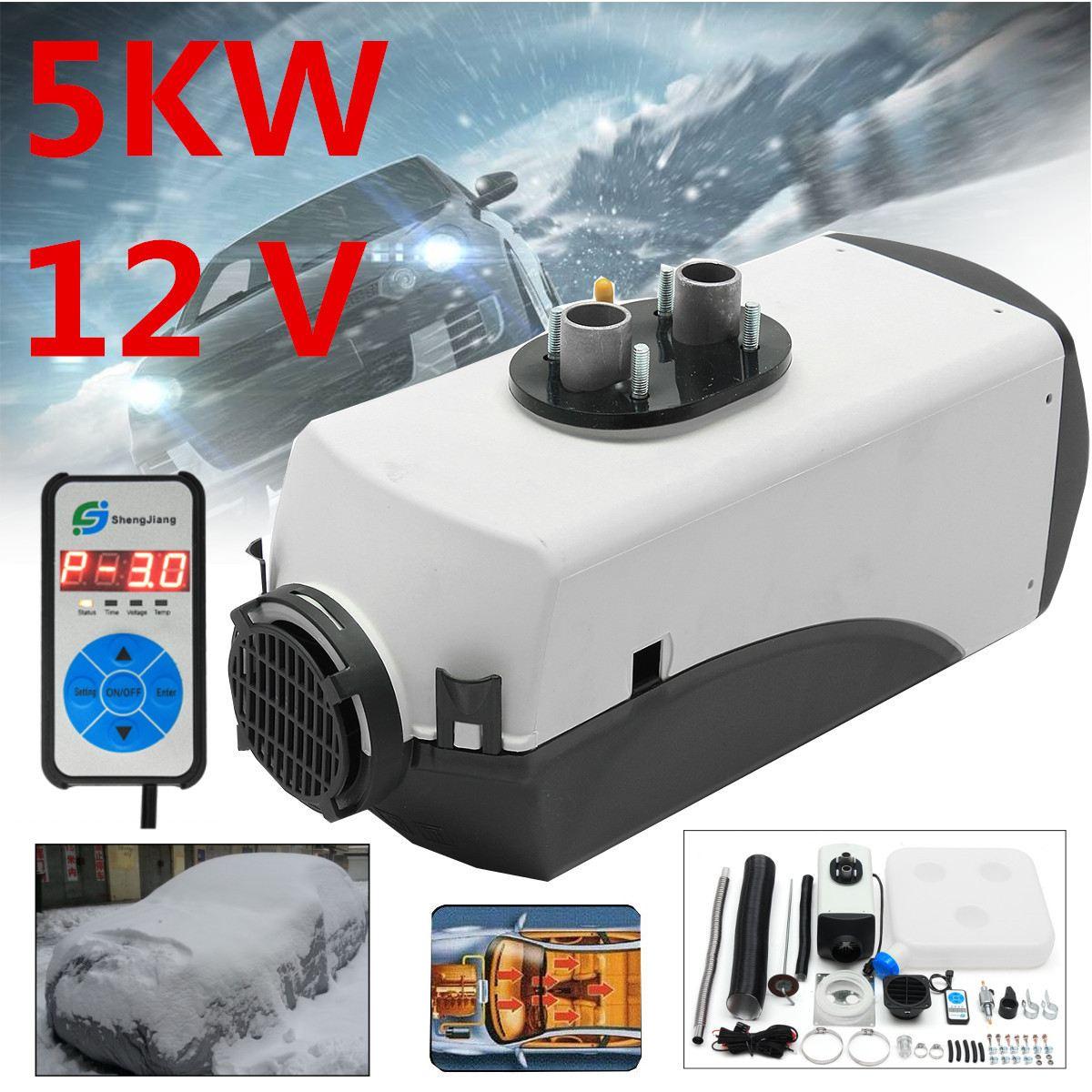 12 В 5000 Вт Air дизель-нагреватель 5 кВт для грузовых автомобилей, мотор-дома, лодки, автобус Горячие цифровой коммутатор автомобильного обогрев...