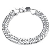 Classics Men Bracelet 925 Jewelry Silver Plated Chain Link Bracelets For Women Men Lovers Engagement Gift