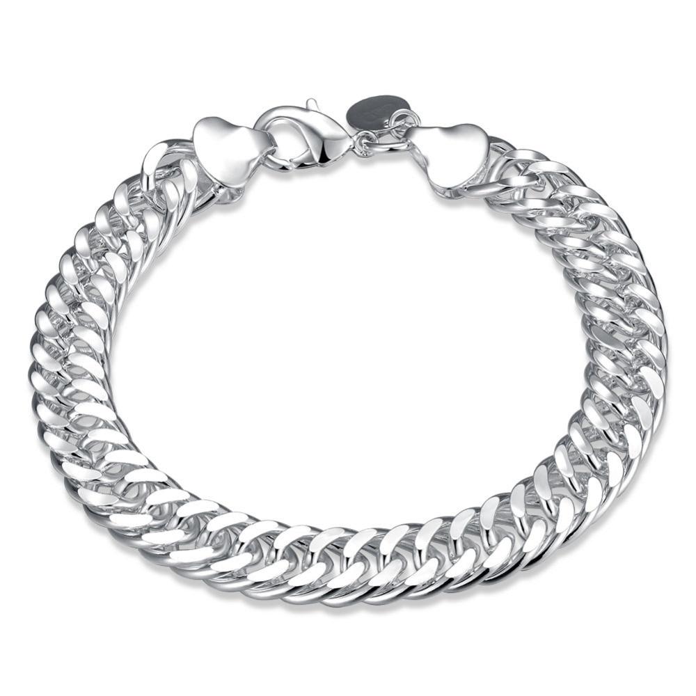 Classics Men font b Bracelet b font 925 Jewelry Silver Plated font b Chain b font