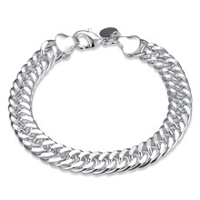Classics Men Bracelet 925 Jewelry Silver Plated Chain Link Bracelets For Women Men Lovers Engagement Gift Accessories Pulseras