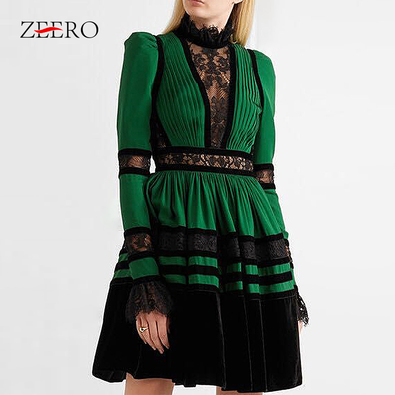 High end Custom Patchwork Velvet Chiffon Dress Women Long Sleeve Sexy Lace Party Dress Female Plus Size 2019 Spring New Fashion-in Dresses from Women's Clothing    1