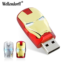 New USB Flash Drives 32G 64G, Avengers marvel USB Flash Drive iron man 8GB 16GB LED Flash Light pendrives memory stick