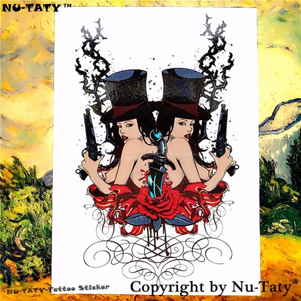 Nu-TATY Lanza chica Tatuaje Temporal Body Art Tattoo Flash Stickers 21*15 cm Tat