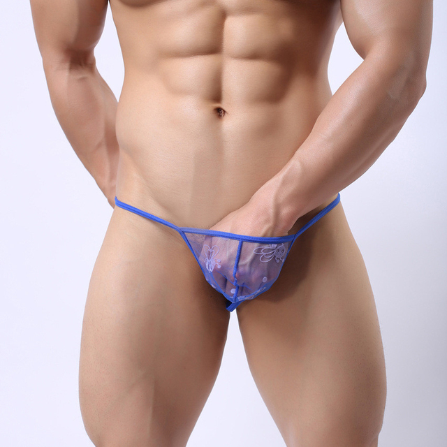 mens lace underwear transparent mesh see through