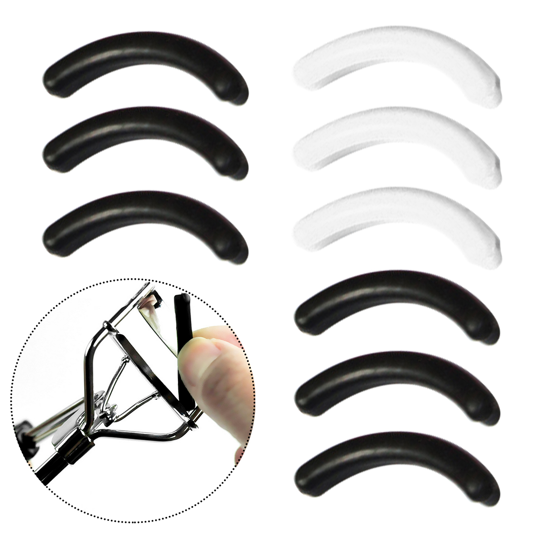 High Elastic Replacement Rubber Pad 12pcs Bulk Rubber Eyelash Curler Supplement Strip Long-lasting Eyelash Curling Replacement
