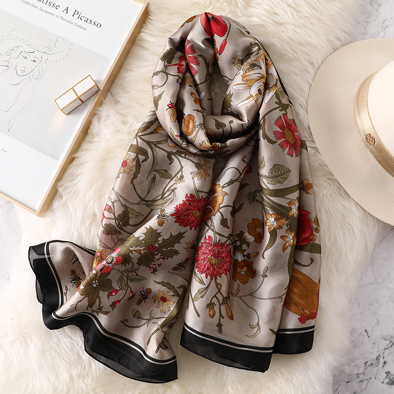 Insect Flower Pattern Silk Scarf Women Soft Thin Head Scarves Long Large Pashmina High Quality Shawls And Wraps Foulard Femme