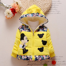 Лидер продаж года зимние детские пальто для девочек детская куртка с Минни модная детская парка с капюшоном теплые пальто с хлопковой подкладкой и цветочным принтом
