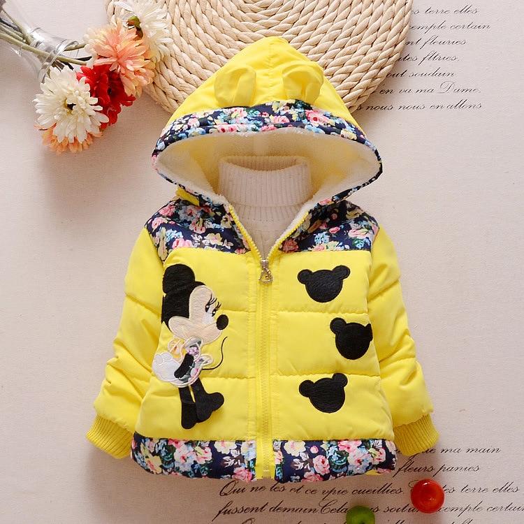Hot Sale 2016 Winter Baby Girls Coats Kids Minnie Jackets Fashion Hooded Children Outdoor Parka Warm Flowers Cotton-padded Coats