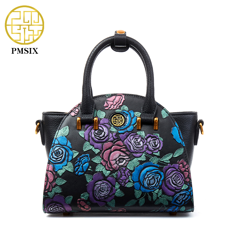 PMSIX 2017 New Embossed Floral Vintage Genuine Leather Women Handbag Small Shoulder Bag Female Crossbody Messenger Bag 110055 new arrival vintage women handbag genuine leather purse female small bag messenger crossbody bag hand painted women shoulder bag