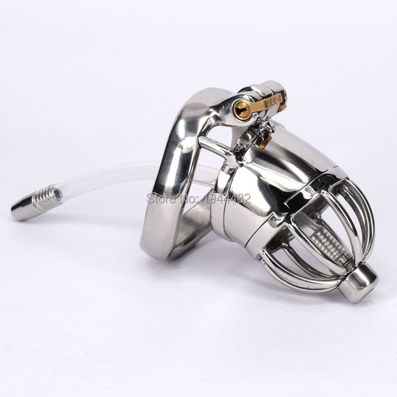 Male Chastity Device Stainless Steel Cock Cage Metal Chastity Belt With Urethral Sound Bondage Sex Toys Virginity Lock  small chastity device stainless steel cock cage metal male chastity belt penis ring bondage sex toys dragon totem virginity lock