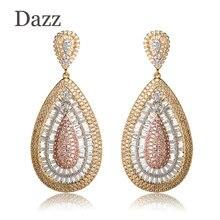 Dazz Luxury Water Drop Shape Large Wedding Women Earrings Full Shining Rhinestones Copper Jewelry Party Ears Accessories Bijoux