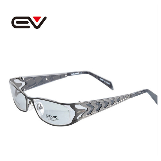 Miopia óptico Armações de Óculos de Aço Inoxidável Homem de Metal Óculos Limpar Lens Óculos de Computador Oculos de grau EV0783
