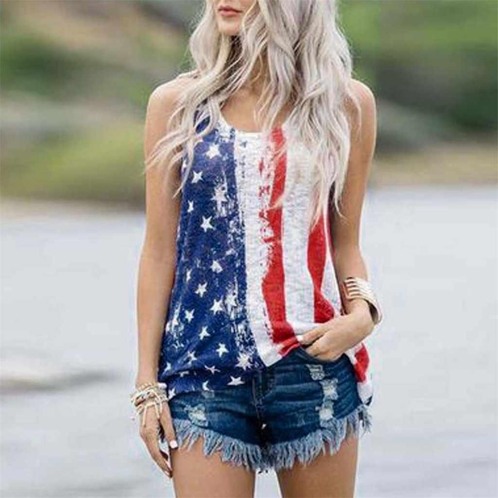Chaleco sin mangas con rayas patrióticas estampado de la bandera americana de las estrellas camiseta sin mangas cuello redondo Pusheen Festival parte superior Debardeur Femme