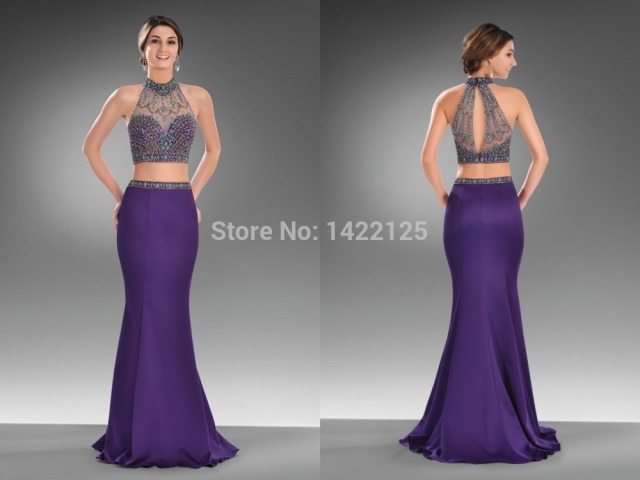 Sexy Mermaid High Neck Two Piece 2 Cute Prom Dresses 51127 Beading