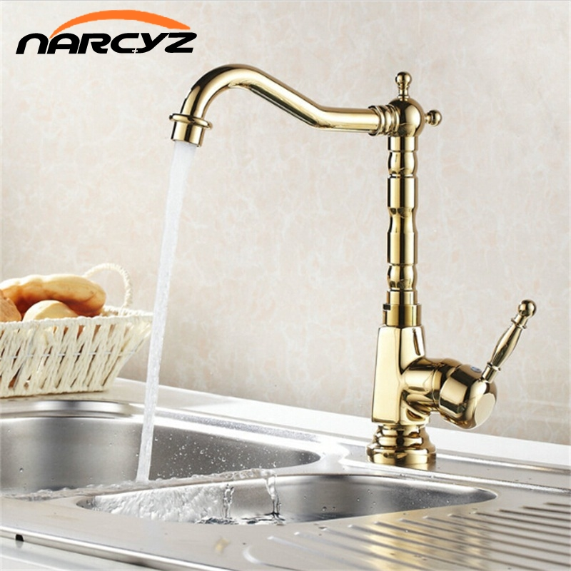 New Gold Hot Cold Mixer Water Tap Kitchen Bathroom Wash Basin Sink Faucet 8105K