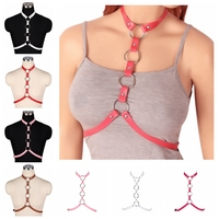 Hot Pink Leather Harness Neck Chest Straps Crop Top Cage Metal Punk Pastel Goth Sexy Dance Party Rave Wear Women Bra Adjustable