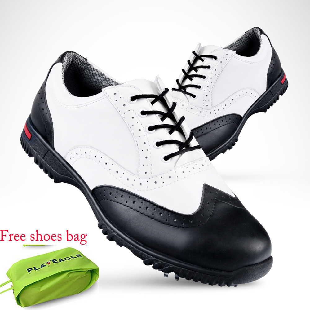 2017 Men's Genuine Leather Anti-skid Waterproof EVA Golf Shoes Sports Sneakers with US Size 7-9 Free Shoes Bag Gift simulation mini golf course display toy set with golf club ball flag