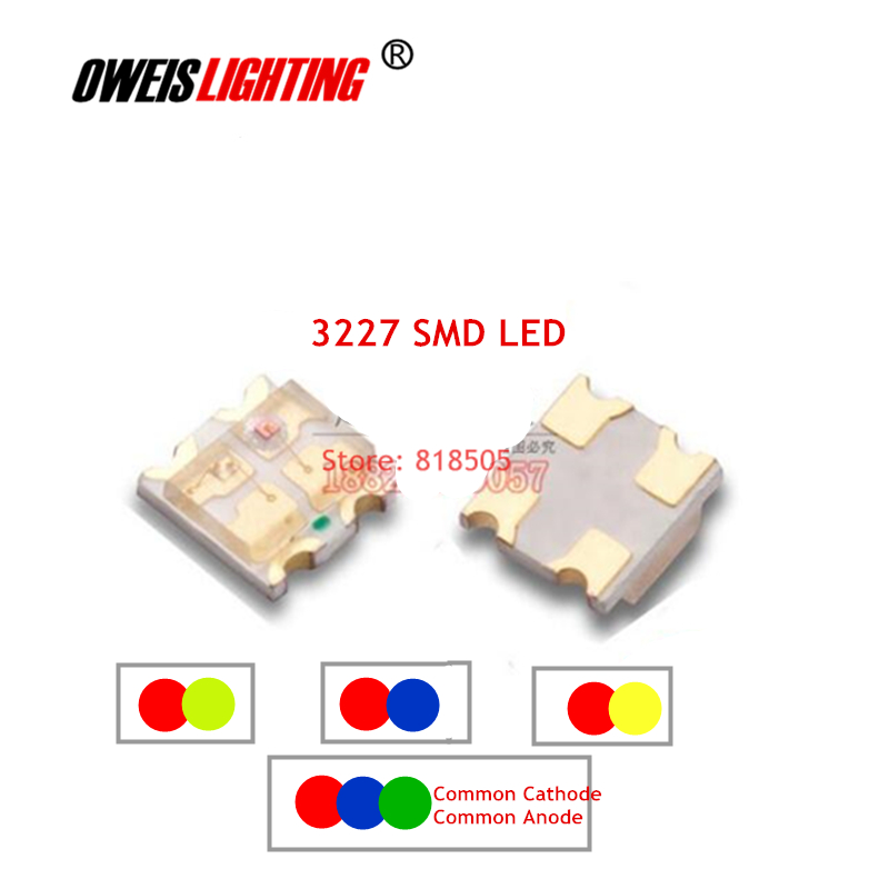 50PCS 3227 SMD LED 1209 Bicolor -  Red+BLUE / R+YELLOW / R+YELLOWGREEN  RGB - Common Cathode / Common Anode Full Color