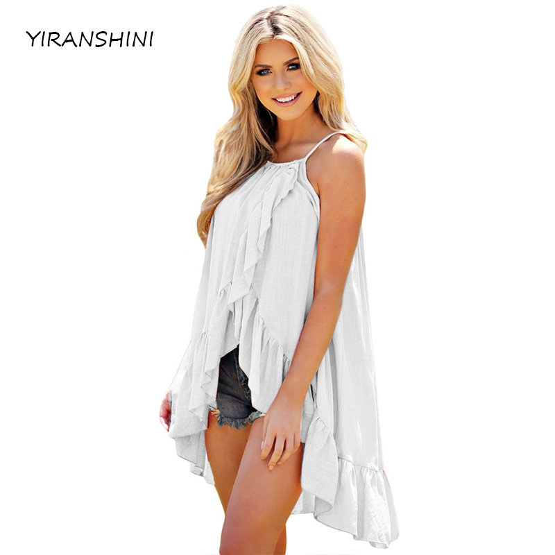 YIRANSHINI 2018 Summer Casual Women Tank White Ruffle Wrap Spaghetti Straps Women Vest Tank Fashion Lady Tank TankS LC250067