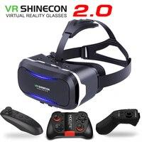 חדש מקורי VR Shinecon השני 2.0 קסדת קרטון מציאות מדומה 3D משקפיים סרט וידאו עבור טלפון חכם טלפון נייד עם Gamepad