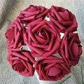 100X Dark Red Artificial Flowers Burgundy Roses For Bridal Bouquet Wedding Decor Arrangement Centerpiece Wholesale Lots