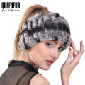 QUEENFUR Women's Fashion Elegant Headband Real Knitted Rex Rabbit Fur Headwrap 2016 Winter Pop Super Elasticity Female Scarves