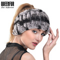 QUEENFUR das Mulheres Moda Elegante Headband Headwrap Real Malha Rex Rabbit Fur 2016 Inverno Pop Super Elasticidade Lenços Femininos