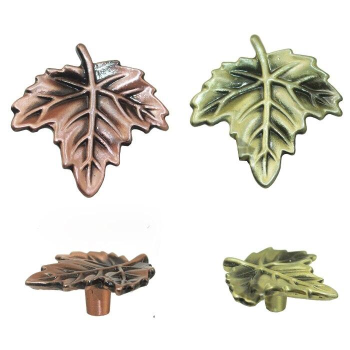 5pcs 20mm Bronze Vintage Antique Cabinet Door Kitchen: 5pcs Maple Leaves Handle And Knobs Vintage Bronze Knobs