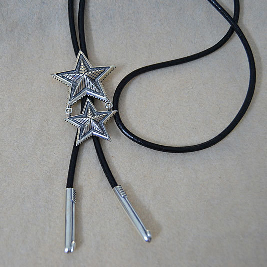 где купить Starfield S925 Sterling Silver Retro Thai Silver Five-pointed Star Pendant Black Leather Necklace Long Sweater Chain Male Female дешево