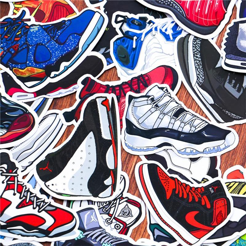 100pcs/pack Mixed Jordan SNEAKER Stickers For Notebook