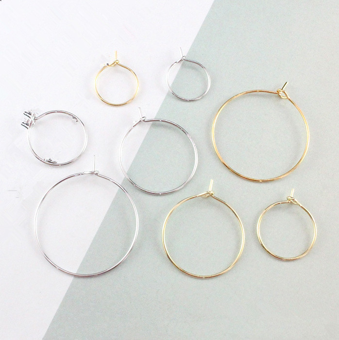 50pcs 20/25/30/35 Mm Silve Plated Ear Wire Hoops DIY Craft Earring Open Beading  Big Circle Jewelry Making Findings Wedding