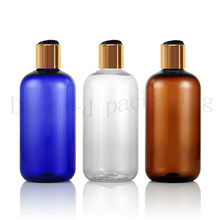 Toner-Bottles Shampoo Cosmetic-Packaging Essential Oils Empty Amber Plastic Gold 250ml