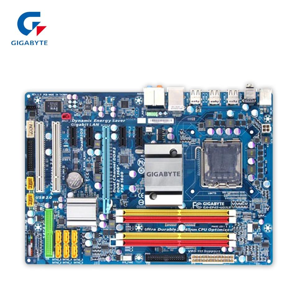 где купить Gigabyte GA-EP45-UD3LR Original Used Desktop Motherboard EP45-UD3LR P45 LGA 775 DDR2 16G SATA2 USB2.0 ATX дешево