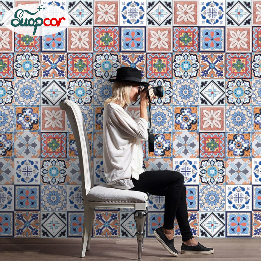 0 20x5m Bathroom Stickers Waterproof Self Adhesive Tile Wallpaper Kitchen Wall Stickers Living Room Background Wallpaper Decor in Wallpapers from Home Improvement