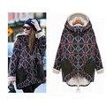Mulheres Jaqueta de inverno 2016 New Casual Solto Outwear Tamanho Grande além de Veludo Grosso Casaco Quente Com Capuz Gola De Pele Da Cintura Das Mulheres roupas