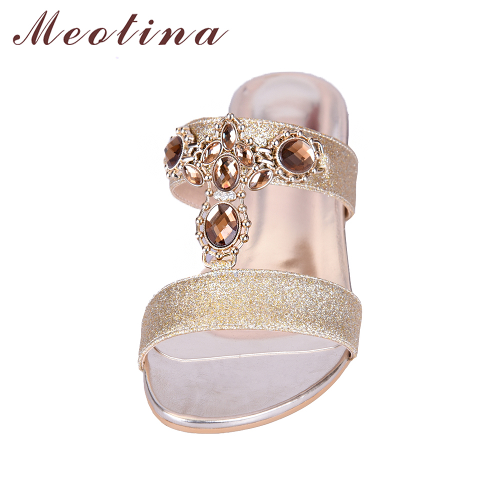 Meotina Shoes Women Sandals Summer Rhinestone Ladies Slippers Open Toe Low  Heel Slides Crystal Sandals Sliver Gold Big Size 9 10-in Low Heels from  Shoes on ... ae99e9d108d7