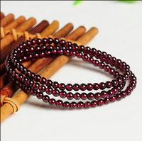 Natural Wine Red Garnet Smooth 4mm Beads Elastic Line Necklace
