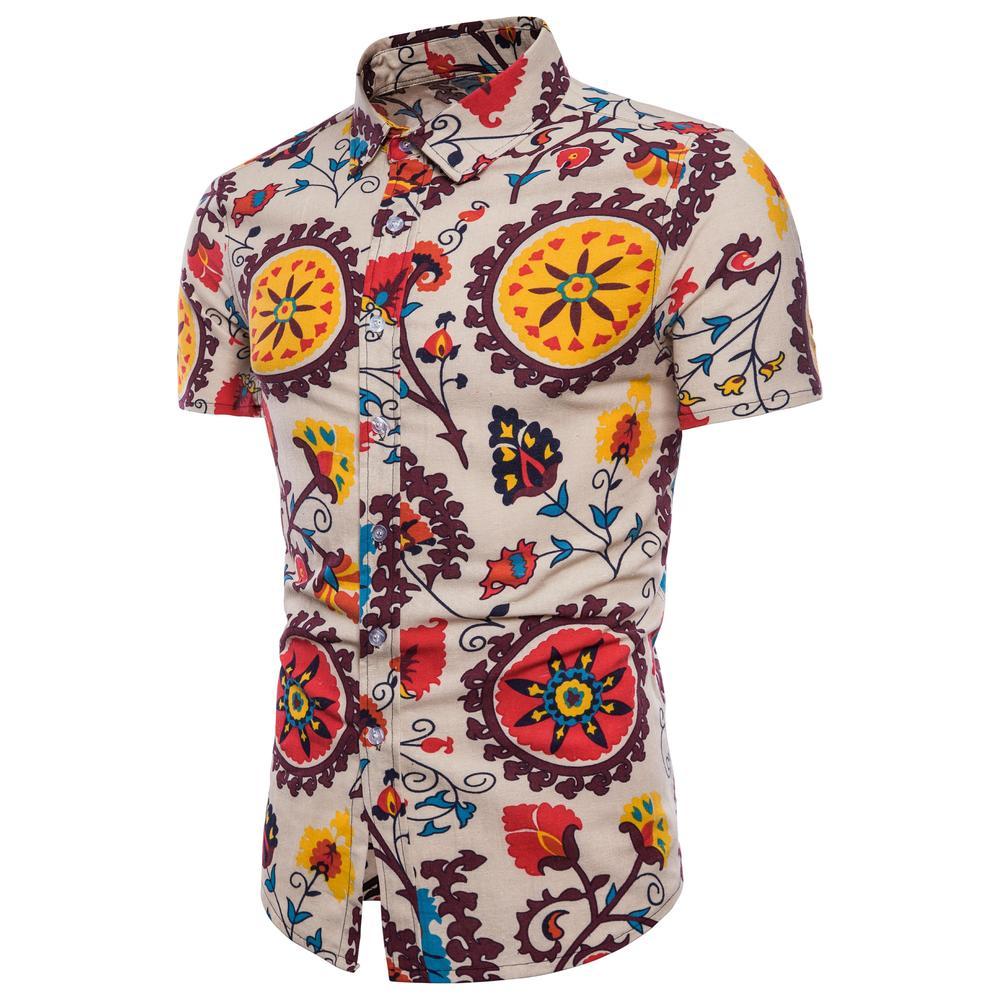Mens Casual Shirts Short-Sleeve 2018 Summer Hawaiian Shirt Skinny Fit with Various Patte ...