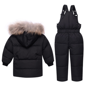 2019 Winter Down Jacket Set Children Clothing Thick Kids Girls Clothes Coats + Overalls 2pcs Sets Baby Boys Snowsuit Outerwear 2