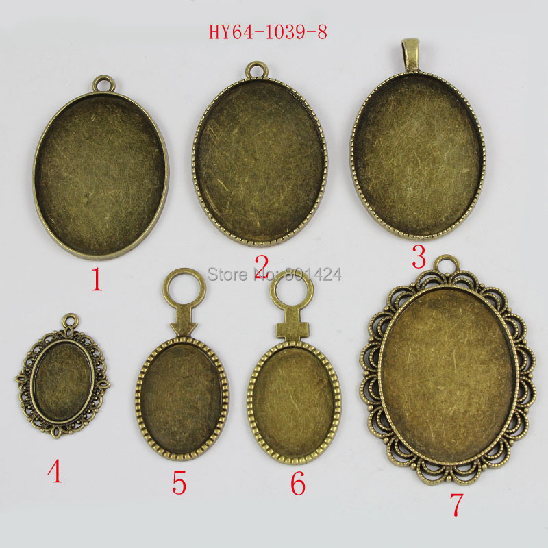 Charm Bezel Beads Bronze Antique Oval 1lot Cabochon-Settings Cameo Fit Sundry 64-1039