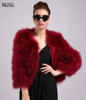NGSG Red Ostrich hair Real Fur Coat Short Simple Solid Feather Women Coat Stylish And Thin Spring Autumn Banquet Clothing
