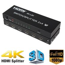 4K*2K HDMI 2x4 + Audio Extractor HDMI Switch Splitter Converter Adapter With Remote Control 2 in 4 out 3D 1080p v1.4 HDTV DVD(China)