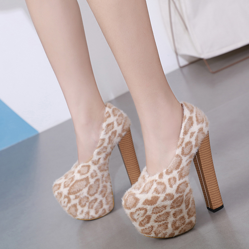 High-Heels Platform Wood-Pattern Sexy Leopard Nightclub Single-Shoes. Mouth 16CM Waterproof
