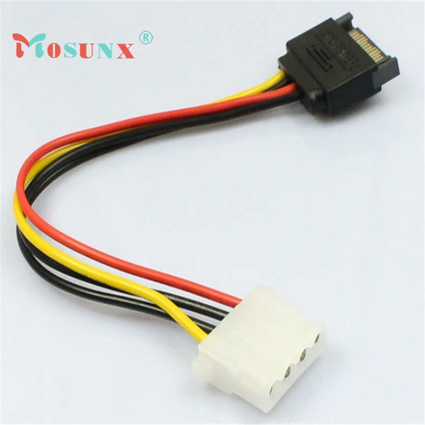 15 Pin SATA Male to 4 Pin Molex Female IDE HDD Power Hard Drive Cable Nov4 mosunx sata 15 pin to type d 4 pin ide serial power cable multicolored 15cm 2 pcs