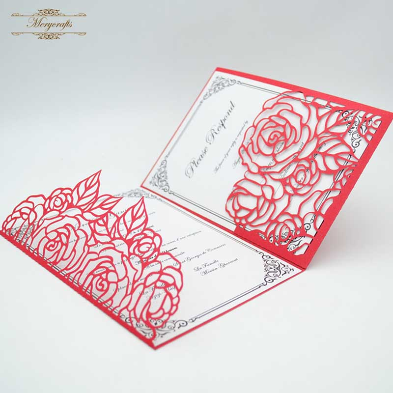 Us 34 0 2018 Hot Sale Luxurious Rose Laser Cut Wedding Invitations Card Envelopes In Cards Invitations From Home Garden On Aliexpress