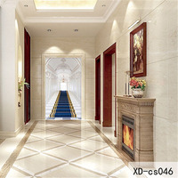 Custom 3D Fabric Textile Wallcoverings For Walls Cloth Murals Matt Silk Entrance Hallway Corridor Europe Stairs