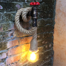 Lámpara de pared de cuerda Industrial, lámpara de pared Vintage, tubo de agua Led, luz de tocador para restaurante, porche, pasillo, escaleras, bar o balcón, café