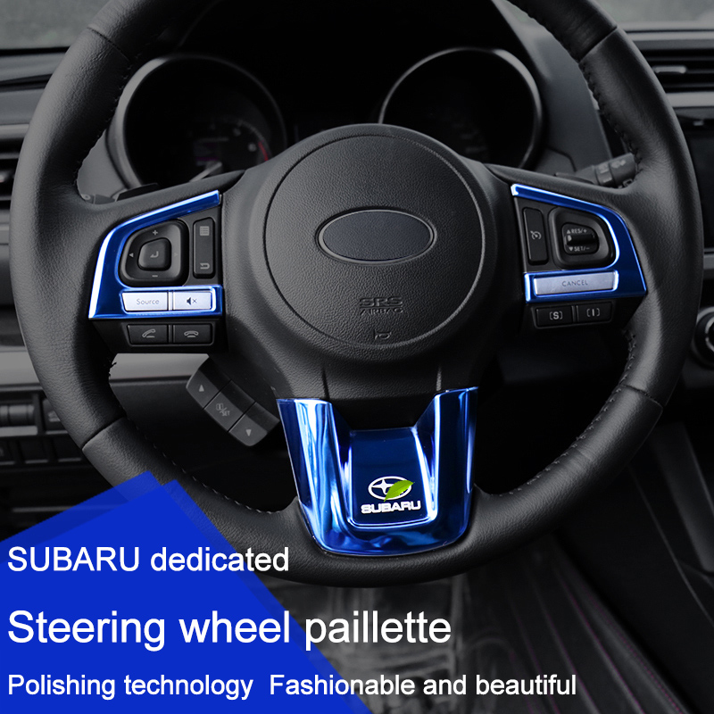 QHCP Stainless Steel Steering Wheel Button Panel Trim Sequin Sticker Car Styling Accessory For Subaru Forester XV Outback Legacy 2pcs set car interior steering wheel button frame cover trim for subaru xv 2012 2013 2014 2015 chromed abs plastic car styling