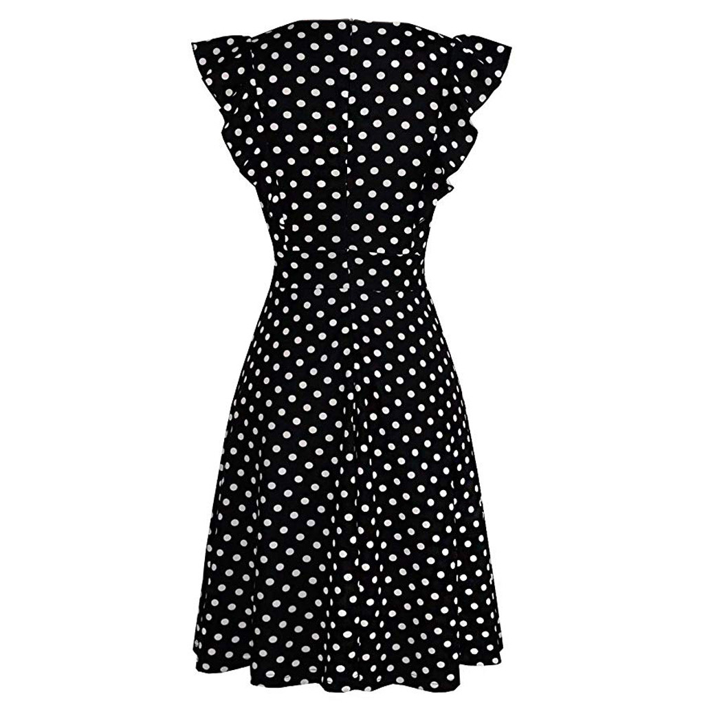 HTB1hrJNRmzqK1RjSZFHq6z3CpXam Sleeper #401 2019 NEW FASHION Women Vintage Dot Printed Ruffle Sleeveless Casual Cocktail Party Dresses casual hot Free Shipping
