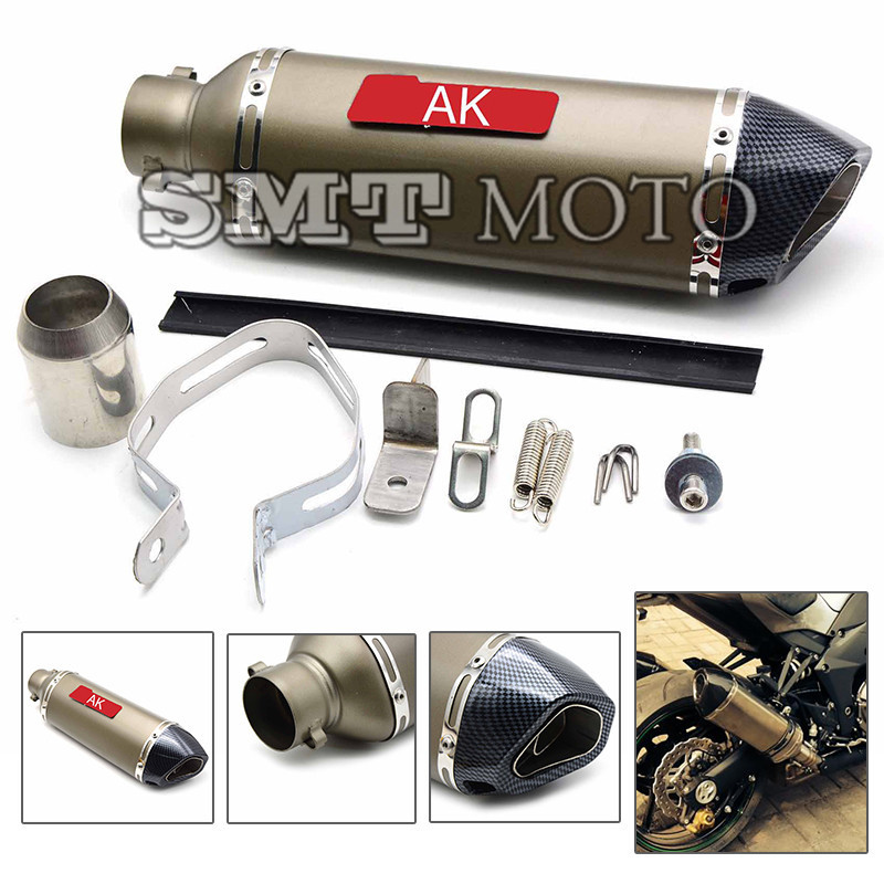 New motorcycle exhaust pipe motorcycle muffler carbon fiber 36-51mm fit for kawasaki zx-6r 7r 9r 10r 12r z750 ER-6N ER-6F Z750 free shipping motorcycle accessories colorful motorcycle muffler carbon fiber exhaust pipe for kawasaki ninja650 er6 z750 z1000